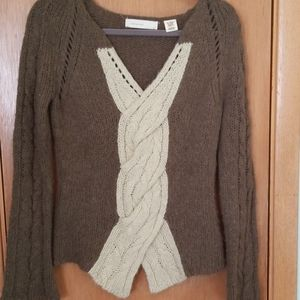 Anthropologie Sleeping on Snow Olive Cable Sweater